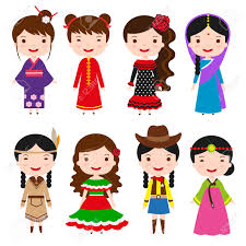 traditional costumes character of the world dress girls in