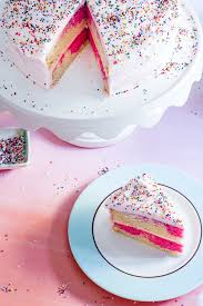 pink and white cake with sprinkles – Luv Cooks