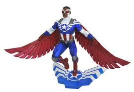 Sam Wilson The Former Falcon And Current Captain America Spreads His Wings In Modern Day Patriotic Costume This Highly Detailed Sculpt Features