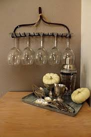 GREAT IDEA Take A Look At This Old Rake Wine Glass Holder Who Doesnt Love Little Garden House Rustic Style To Decorate Your Bar With