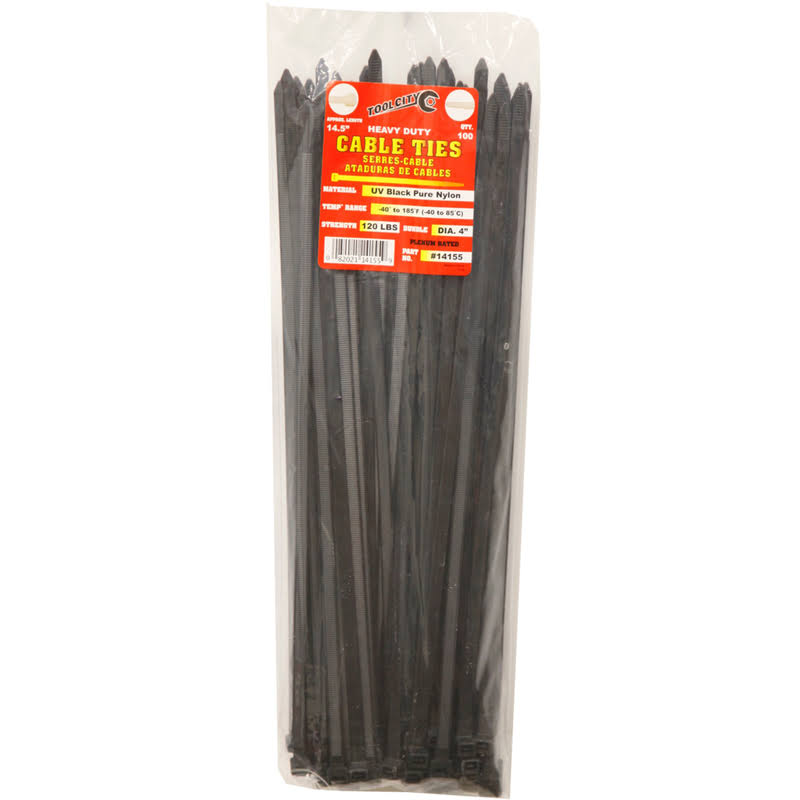 "Tool City 14155 Cable Tie - Black, 14.5"", 100pk"