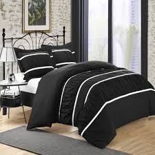 Bed Cover Sets by Betsy Black King 3 Piece Ruffled Duvet Cover U0026 Shams Set Set