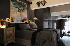BedroomExciting Masculine Bedroom Design With Canvas Wall Art Also Cool Lighting System Plus Grey