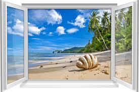 wandtattoo wandbild fenster sand strand muschel meer wohnzimmer