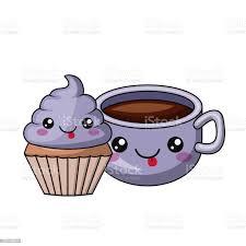 kuchen und kaffee charakter isoliert icondesign stock vektor und mehr bilder bildhintergrund