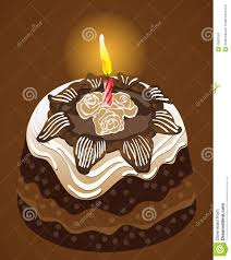 Birthday party chocolate cake with candle Vector
