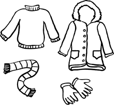 500x459 winter clothes black and white clipart