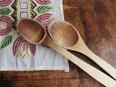 vintage wooden spoon and fork set primitive kitchen decor rustic