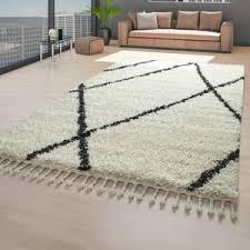 skandi teppich beige wohnzimmer hochflor rauten muster skandinavisch fransen größe 140x200 cm