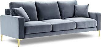 kooko home sofa velours poeme 3 sitzer hellblau 220 x 92