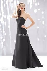 strapless plain charcoal gray satin floor length bridesmaids gowns