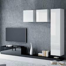 details zu wohnwand jupiter v wohnzimmer set schwarz weiß hochglanz schrankwand lowboard