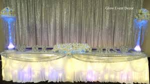 Silver Sequin Twinkle Fairy Light Bridal Wedding Table Backdrop With Chiffon Overlay LED