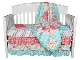 Gia Floral Coral Aqua 4 In 1 Baby Girl Crib Bedding Set by The