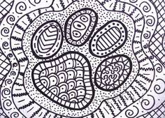 OOAK Pawprint Zentangle ACEO Dog Paw Drawing Cat By PeachPod 800