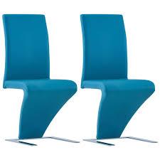 esszimmerstühle in zick zack form 2 stk blau kunstleder