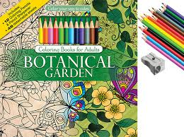 Botanical Garden Adult Coloring Book With Colored Pencils Cover And