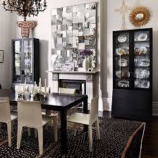 Monochrome Dining Room With Display Cabinets And Statement Mirror