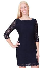 adrianna papell women u0027s petite long sleeve lace dress in navy