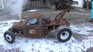 100 Rc Diesel Trucks RC Rat Rod Wrecker Rod 1 Testrun With Sound And Real Smoke