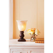 better homes and gardens up light with glass shade mahogany
