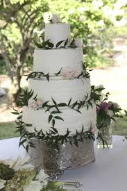 Simply Rustic Wedding Cake With Fresh Flowers On Central