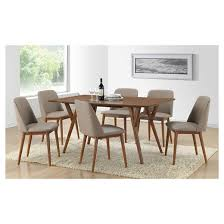 lavin mid century faux leather dining chairs brown walnut beige