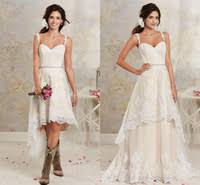 2016 New Sexy Two Pieces Wedding Dresses Spaghetti Lace A Line Bridal Gowns With Hi Lo Short Detachable Skirt Country Bohemian