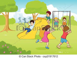 Playing At Playground Cartoon Illustration Of Children