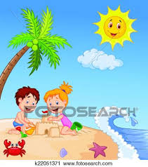 Vector Illustration Of Children Making Sand Castle At Tropical Beach