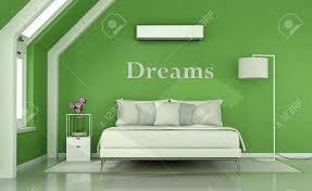 grünes schlafzimmer im dachgeschoss mit doppelbett le und klimaanlage 3d rendering