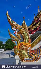 100 Banglamung Buddhist Thai Temple And Naga Guardian Chonburi Stock