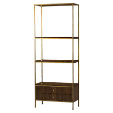 Celia Modern Walnut 2 Drawer Gold Trim Display Bookcase Etagere