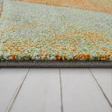 kurzflor teppich 3 d look dreiecke blau orange mirai