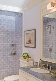 New York Blue Subway Tile With Traditional Cove Base Tiles Bathroom And White Wood Wall Art