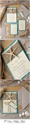 Eco Rustic Sea Beach Wedding Invitations With Real Starfish Blue Weddingideas