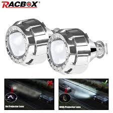 2 pcs 2 inch car projector lens universal bi xenon hid silver shroud retrofit for h1 xenon bulb h4 h7 motorcycle headlight drl