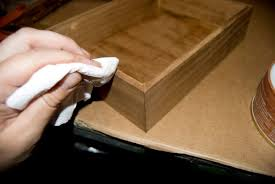 First She Applied A Single Coat Of Stain And Let It Dry