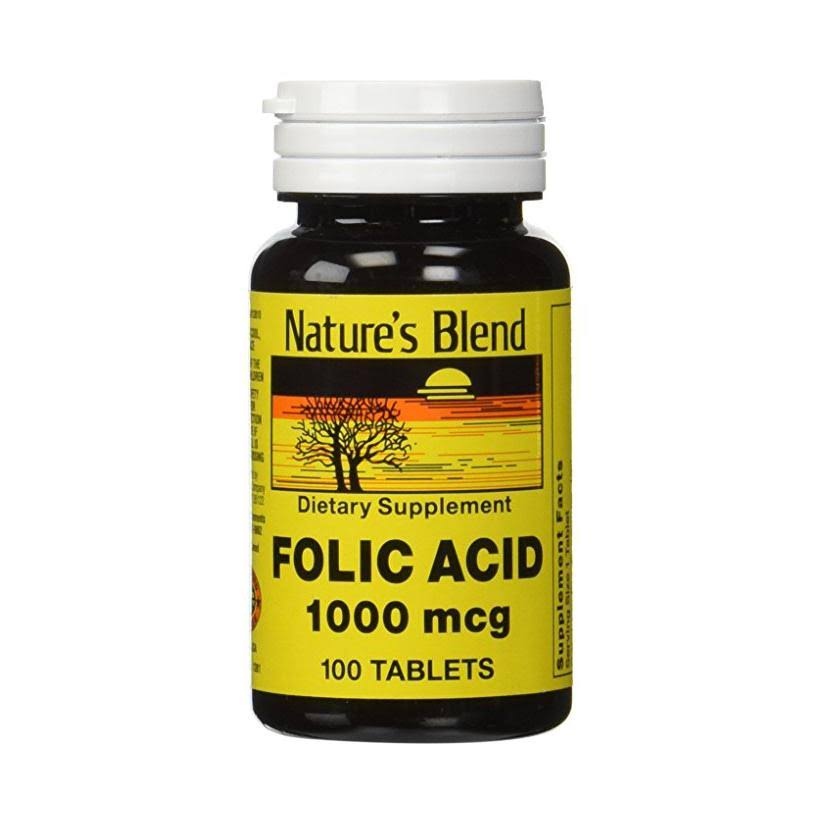 Nature's Blend Folic Acid 1000 Mcg Dietary Suppelement - 100 Tablets