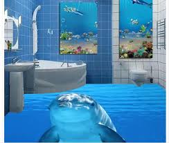 dolphin marine sea water 3d tiles floor painting wallpaper for