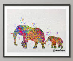 DIY Original Watercolor Elephant Canvas Painting Pop Wall Art Poster Prints Pictures Living Room Home Decor