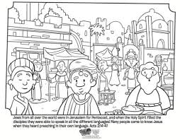 Kids Coloring Page From Whats In The Bible Showing People Of Pentecost Acts