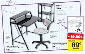 carrefour promotion table d ordinateur chaise de bureau city