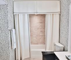 shower with pleated valance and double curtains contemporary