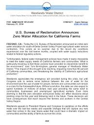 federal bureau of reclamation u s bureau of reclamation announces zero water allocation for