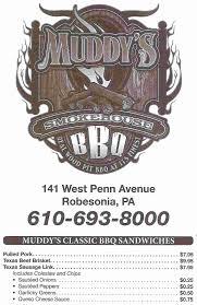 bbq pit sinking springs pa muddy s smokehouse bbq menu