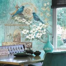 cutom vintage 3d türkis farbe blumen und vögel wandbild auf der wand großhandel für home wand dekoration freies verschiffen
