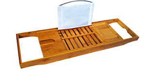 amazon com bamboo bathtub caddy bath book holder bathroom
