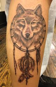 Grey Ink Dreamcatcher Tattoo On Leg