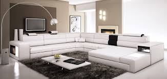 Amazon Polaris White Contemporary Leather Sectional Sofa